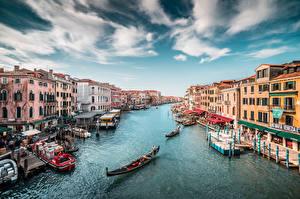 Фотографии Италия Лодки Венеция Водный канал