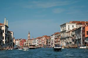 Обои для рабочего стола Италия Катера Здания Венеция Grand canal город
