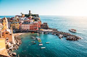 Обои Италия Море Пирсы Лодки Лигурия Vernazza Города