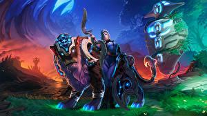Картинка Луна Воины Волшебные животные DOTA 2 компьютерная игра Девушки