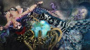 Фотография Русалка Подводный мир Морские коньки Фантастика 3D_Графика Девушки