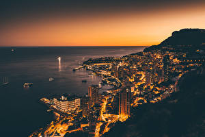 Картинки Монако Побережье Монте-Карло Дома Ночью Сверху город