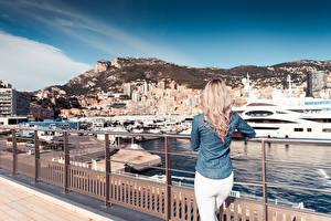 Фотографии Монако Яхта Монте-Карло Забор Сзади Блондинки Города