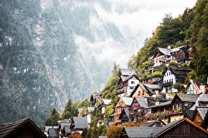 Обои Горы Австрия Халльштатт Деревня Туман Города картинки