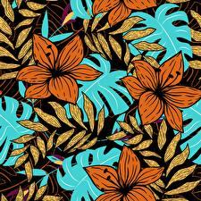Фотография Рисованные Текстура Листья Ветвь Цветы
