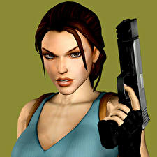 Обои Tomb Raider Пистолетом Tomb Raider Legend Лара Крофт Игры Девушки