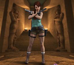 Картинка Tomb Raider Пистолеты Tomb Raider Legend Лара Крофт Игры Девушки
