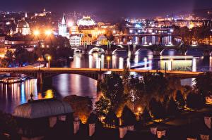 Обои Прага Чехия Реки Мосты Ночью город