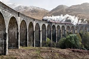 Фото Шотландия Поезда Мост Дым Glenfinnan Viaduct