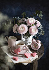 Картинка Натюрморт Лизантус Кофе Часы Ноты Чашке Сердечко Кувшины Пища Цветы