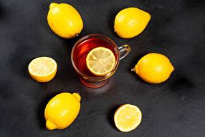 Картинка Чай Лимоны Чашка Продукты питания