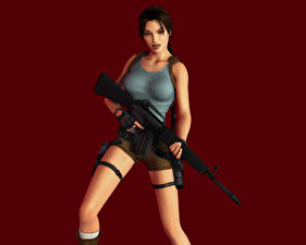 Обои Tomb Raider Tomb Raider Legend Автомат Лара Крофт Игры Девушки 3D_Графика