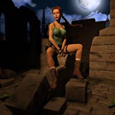 Фотографии Tomb Raider Tomb Raider Legend Косы Лара Крофт Сидит 3D_Графика Девушки