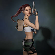 Фото Tomb Raider Legend Пистолет Tomb Raider Лара Крофт Косы Игры Девушки