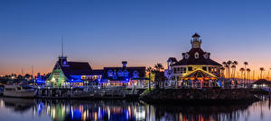 Фото США Здания Речка Пристань Вечер Калифорния Село Shoreline Village in Long Beach Города