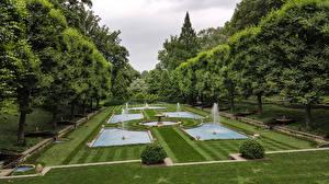 Фотография Америка Парки Фонтаны Дизайна Газон Деревьев Пенсильвания Longwood Gardens, Kennett Square Природа