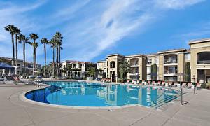 Фото Штаты Курорты Здания Калифорнии Плавательный бассейн Пальма San Jose город