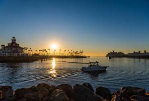 Фотография США Рассвет и закат Пристань Корабль Здания Калифорнии Залив Long Beach Природа