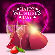 Фотография День всех влюблённых Векторная графика Игристое вино Клубника Английская Слова Серце Бокал Подарок Продукты питания