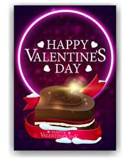 Фото День всех влюблённых Векторная графика Английская Слова Сердечко Подарок