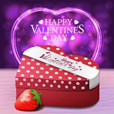 Обои для рабочего стола День святого Валентина Векторная графика Клубника Английский Слова Подарки Сердца