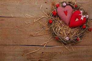 Картинка День всех влюблённых Доски Гнезде Соломе Сердце Бантики
