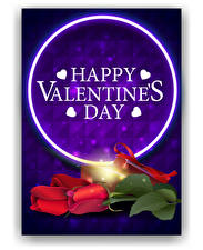Обои Векторная графика День всех влюблённых Роза Английская Слова Сердечко цветок