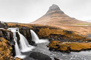 Фотографии Водопады Гора Исландия Kirkjufell Природа