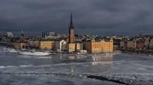 Фото Зима Здания Речка Стокгольм Швеция Города