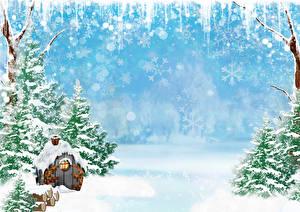 Обои Зима Здания Снеге Ель Снежинки Шаблон поздравительной открытки