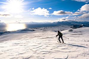 Картинка Зима Лыжный спорт Снегу Солнца Горизонт Облака Природа