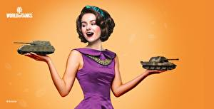 Фото WOT День победы Цветной фон Платья Подарок Шатенки Прически Valerie компьютерная игра Девушки