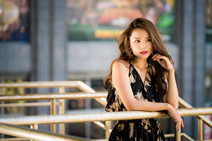 Картинки Азиатки Боке Платья Рука Шатенки Волос Смотрит девушка