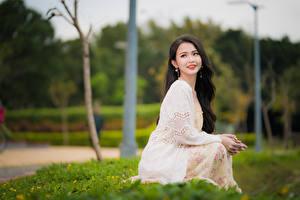 Картинка Азиатки Боке Сидящие Платья Шатенки Миленькие