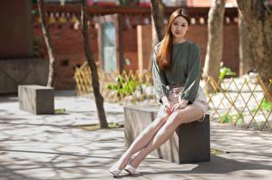 Картинки Азиатка Боке Сидящие Ног Шатенка Миленькие Девушки