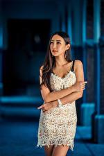 Фотографии Азиатка Поза Платье Рука Брюнетки Девушки