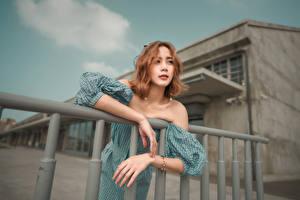 Фото Азиатки Позирует Руки Платья Шатенки молодые женщины