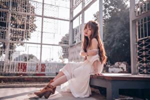 Фотография Азиаты Сидит Платье Шатенки девушка