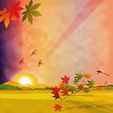 Фото Осень Стрекозы Рисованные Картина На ветке Листва Холмы Солнца Природа