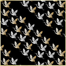 Картинка Птицы Аисты Текстура На черном фоне Japanese style