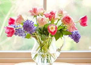 Обои Букеты Гиацинты Тюльпан Розы Окна Кувшины