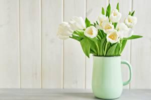 Картинки Букеты Тюльпан Кувшин Белых Цветы