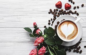 Картинка Конфеты Роза Кофе Капучино Чашке Сердечко Зерно Пища Цветы