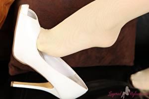 Фотографии Крупным планом Ноги Туфлях Колготки молодые женщины