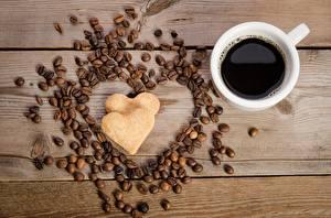 Фотографии Кофе День святого Валентина Сердце Доски Продукты питания