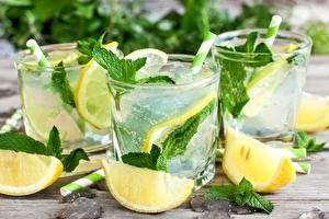 Картинка Напиток Лимоны Мохито Мятой Стакан Продукты питания