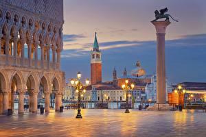 Фотография Вечер Италия Городской площади Венеция Sun Marco Square город