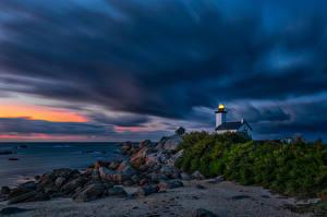 Фото Вечер Рассвет и закат Берег Маяк Франция Туч Kersenval, Bretagne Природа