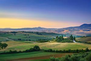 Картинки Поля Тоскана Италия Холм Горизонта San Quirico d'Orcia, Tuscany Природа