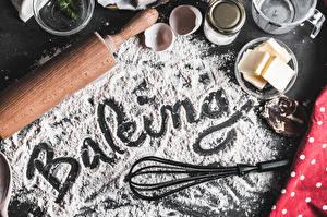 Фотографии Мука Слово - Надпись Английская Масло baking Продукты питания